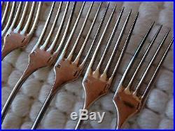 10 couverts à entremets en métal argenté Christofle modèle FIDELIO monogramme