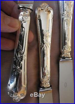 12 Couteaux de table métal argenté & Inox Modèle Louis XV Régence style Marly