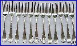 12 Fourchettes A Poisson En Metal Argente Christofle Modele Rubans