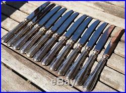 12 couteaux à dessert/entremets modèle filet métal argenté SFAM/Chambly
