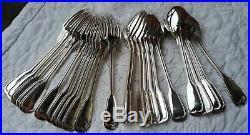 12 couverts à entremets en métal argenté modèle Filet Orfèvrerie BEL
