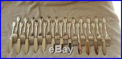 12 couverts à poisson CHRISTOFLE en métal argenté modèle Chinon 24 pièces N°788