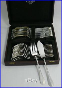 12 couverts à poisson modèle Baguette, métal argenté, 24 pièces, O. Liberty