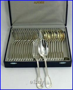12 couverts entremets/dessert modèle Filet, métal argenté 24 Pc, 18 cm, Alfénide