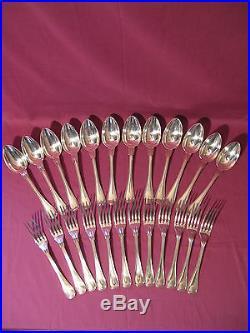 24 couverts Christofle métal argenté modèle filet monogramme PL