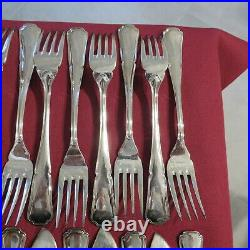 24 couverts a poisson 12 fourchettes et 12 couteau en métal argenté modèle filet