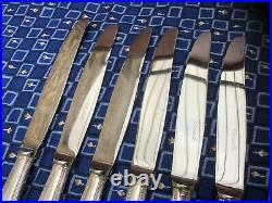 6 Couteaux en Métal Argenté CHRISTOFLE Modèle PERLES Couverts Ménagère Service
