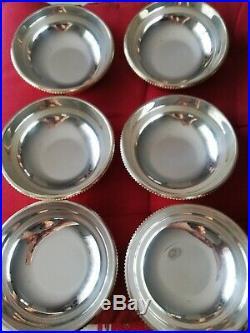 6 coupelles / rince doigts Christofle métal argenté modèle Perles