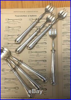 7 Fourchettes à Huitre CHRISTOFLE Modèle SPATOURS Métal Argenté Couverts Table