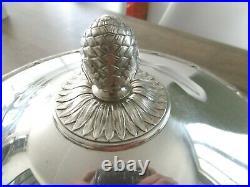 Ancienne soupière légumier Christofle en métal argenté modèle Rubans Croisés