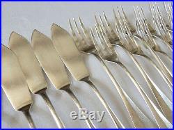 Belle série 12 COUVERTS à POISSON 24 pièces métal argenté modèle Baguette SFAM
