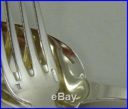 Boulenger modèle Nénuphar, lot 12 cuillères + 5 fourchettes de table, monogramme