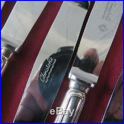 CHRISTOFLE 12 couteaux à entremet en métal argenté modèle spatours 2