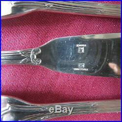 CHRISTOFLE 12 couteaux à poisson en métal argenté modèle rubans 2