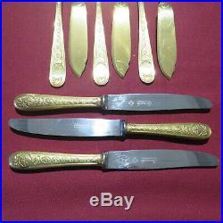 CHRISTOFLE 30 couverts à entremet et poisson en métal doré modèle villeroy
