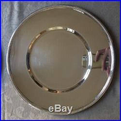 CHRISTOFLE 4 Assiettes de présentation en métal argent Modèle PERLE