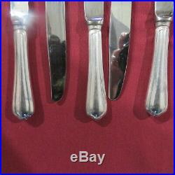 CHRISTOFLE 6 couteaux de table en métal argenté modèle spatours