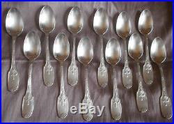 CHRISTOFLE Coffret 12 cuillères dessert métal argenté Modèle Louis XVI DELAFOSSE