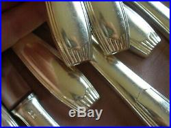 Christofle Alfénide 12 couteaux de table art déco modèle SAIGON / Cirta coffret