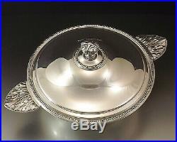 Christofle Gallia Modele Perles Legumier Centre De Table Metal Argente Vers 1970