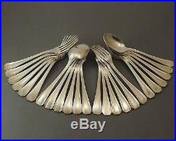 Christofle Modele Boreal Art Deco Couverts A Entremet 24 Pcs Metal Argente 1960