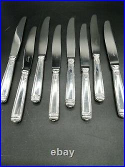 Christofle Modèle Malmaison 8 Couteaux De Table Métal Argenté 24.5cm