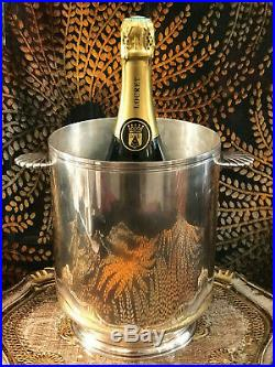 Christofle / Superbe Seau A Champagne Modele Coquille Metal Argente