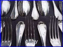Christofle ménagère 37 couverts en métal argenté modèle pompadour en écrin
