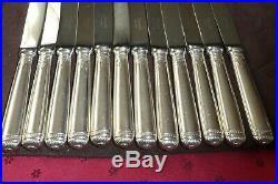 Christofle modèle Malmaison 12 couteaux à dessert en métal argenté Malmaison