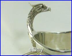 Christofle modèle Malmaison, très belle saucière à tête d'aigle, métal argenté