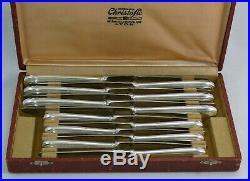 Christofle modèle Perles, 12 couteaux, 6 de table + 6 à entremets, métal argenté