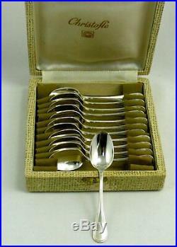 Christofle modèle Perles 12 cuillères moka excellent état 10 cm, écrin d'origine