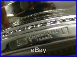 Christofle modèle Perles, splendide verseuse en métal argenté et manche en ébène
