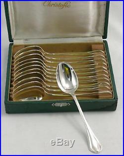 Christofle modèle Printania, 12 cuillères à thé/café/dessert, 14 cm, écrin
