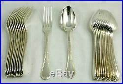 Christofle modèle Rubans, 12 couverts de table, 24 pièces, métal argenté