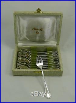 Christofle modèle Rubans, 12 fourchettes à huitres, excellent état, écrin