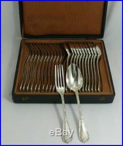 Christofle modèle Rubans/agrafes/feuillage, 12 couverts entremets/dessert, 24 pc