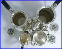 Christofle modèle cannelures et perles service thé/café 4 pièces excellent état