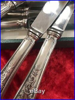 Coffret 12 Couteaux Modele Rocaille Style Marly M Argente / Argenterie