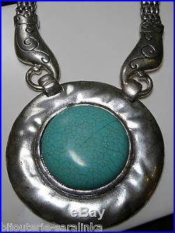 Collier Turquoise Ronde Argent Metal Imposant Dernier Modele