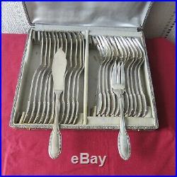 ERCUIS 12 couteaux & 12 fourchettes à poisson métal argenté modèle godrons perle