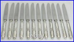 Ercuis modèle Lauriers/Rubans 12 couteaux entremet/dessert/fromage métal argenté