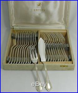 Ercuis modèle Trianon/Rubans, 12 couverts à poisson, 24 pièces, écrin d'origine
