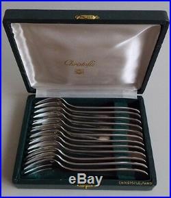 Orfèvrerie. Christofle. 12 fourchettes à gâteaux en métal argenté modèle filet