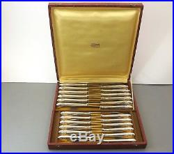 Orfevrerie Platil Modele Grand Prix 24 Couteaux Metal Argente Et Inox Vers 1950