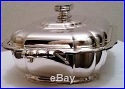 Original légumier en métal argenté modèle art déco Francois Frionnet