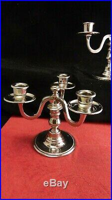 Paire de chandelier Ercuis en métal argenté 3 lumières, modèle Feeling