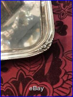 Plateau De Service Ancien Metal Argente Modele Rocaille Louis XV / Argenterie