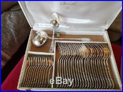 Rare Et Grande Menagere En Metal Argente Christofle Modele Marly 107 Pieces