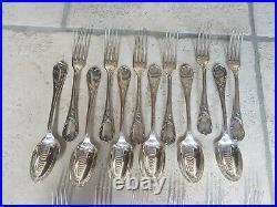 Rare Serie De 24 Pieces En Metal Argente Christofle Modele Marly